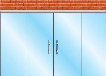 раздвижные стеклянные двери вариант zerprof 2