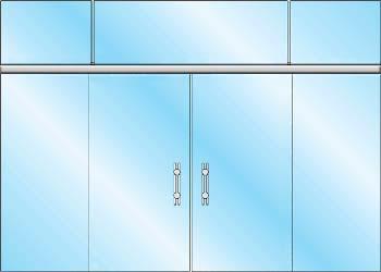 раздвижные стеклянные двери вариант zerprof 3